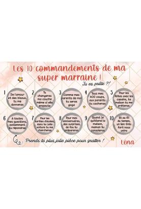 Carte à gratter Les 10 commandements de ma super marraine
