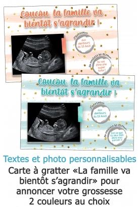 Carte à gratter annonce de grossesse avec votre échographie