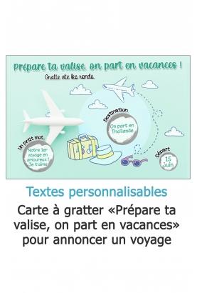 """Carte à gratter """"Prépare ta valise, on part en vacances !"""" pour annoncer un voyage personnalisable"""