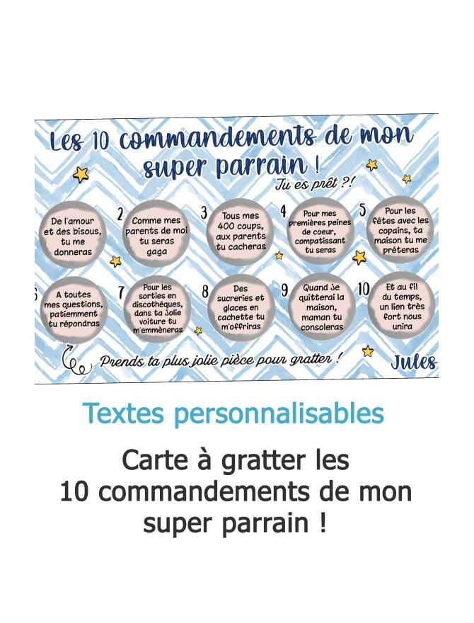 Carte à gratter Les 10 commandements de mon super parrain
