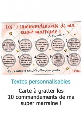 Carte à gratter Les 10 commandements de ma super marraine