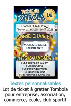 Tombola - Carte à gratter personnalisable