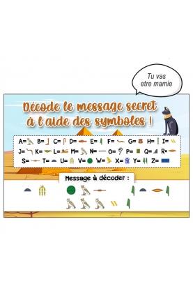 message hiéroglyphe. message déchiffrer. annonce nouvelle originale
