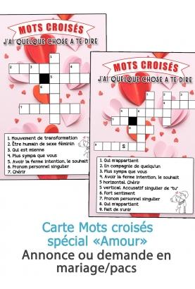 Carte mots croisés Amour pour annonce ou demande mariage/pacs