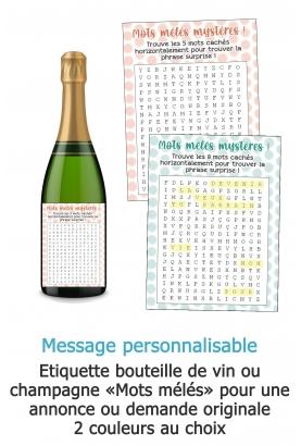 Etiquette bouteille de vin ou champagne mots mélés personnalisable