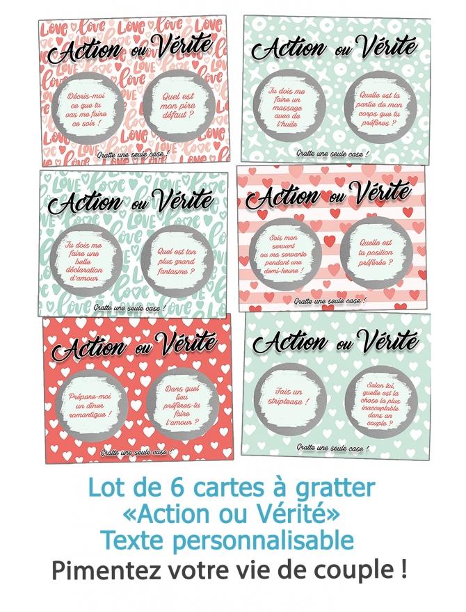 """6 cartes à gratter """"Action ou Vérité"""" pour les amoureux - personnalisable"""
