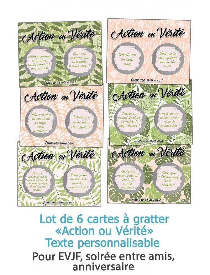"""6 cartes à gratter """"Action ou Vérité"""" pour EVJF, soirée entre amis, anniversaire - personnalisable"""