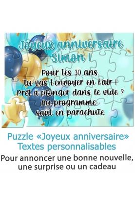 """Puzzle """"Joyeux anniversaire"""" pour annoncer une surprise ou un cadeau"""