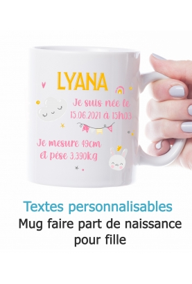 Mug faire part de naissance fille. mug naissance. mug fille