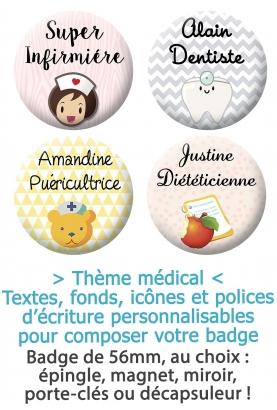 Badge Métier médical personnalisable, infirmière, aide soignante. badge prénom métier