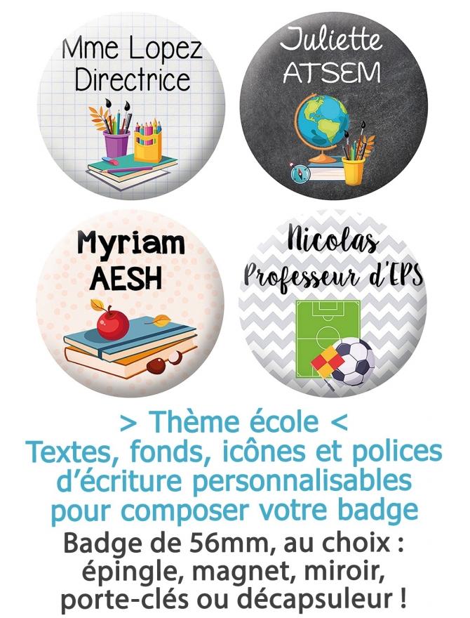 Badge 56mm métier thème école