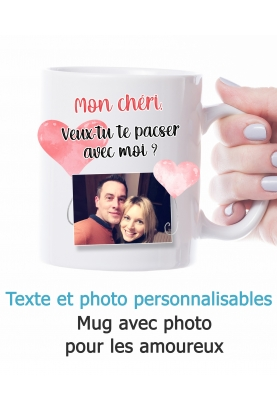 Mug amoureux. Mug couple. mug photo. Mug saint valentin