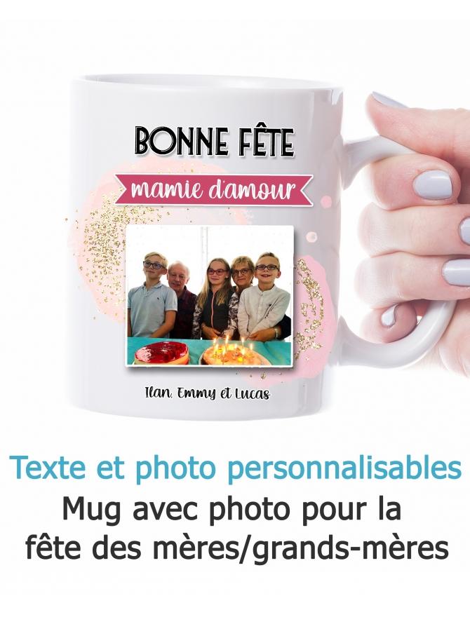 Mug bonne fête mamie/maman avec photo - personnalisable