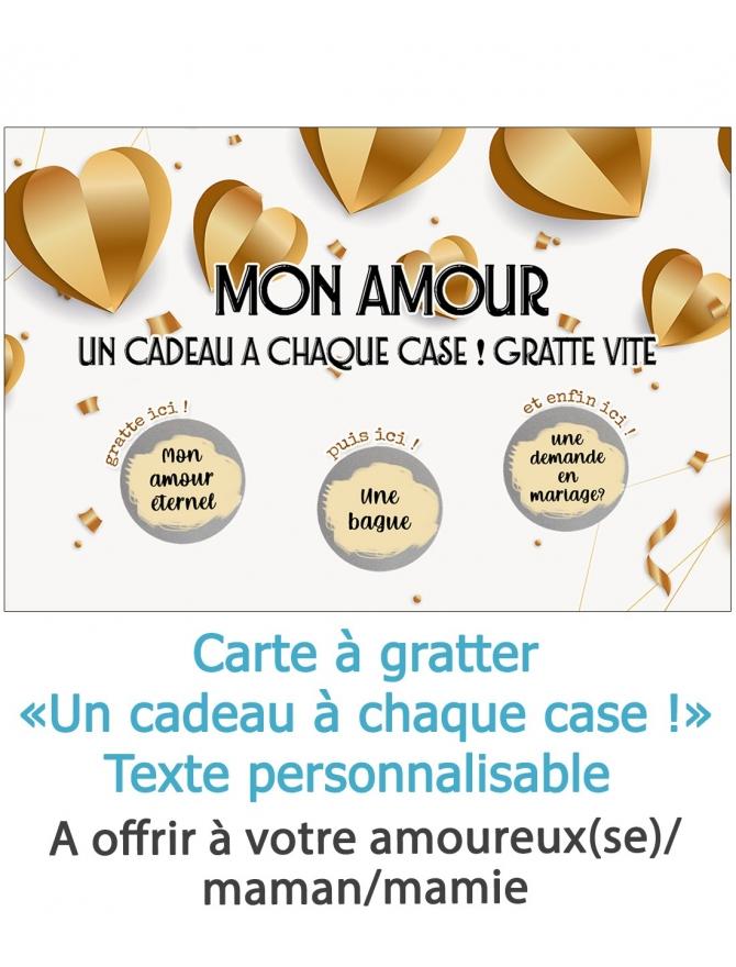 """Carte à gratter """"Un cadeau a chaque case !"""" pour votre amoureux(se) personnalisable"""