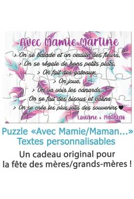"""Puzzle """"Avec Mamie/Maman..."""" pour la fête des mères/grands-mères - personnalisable"""