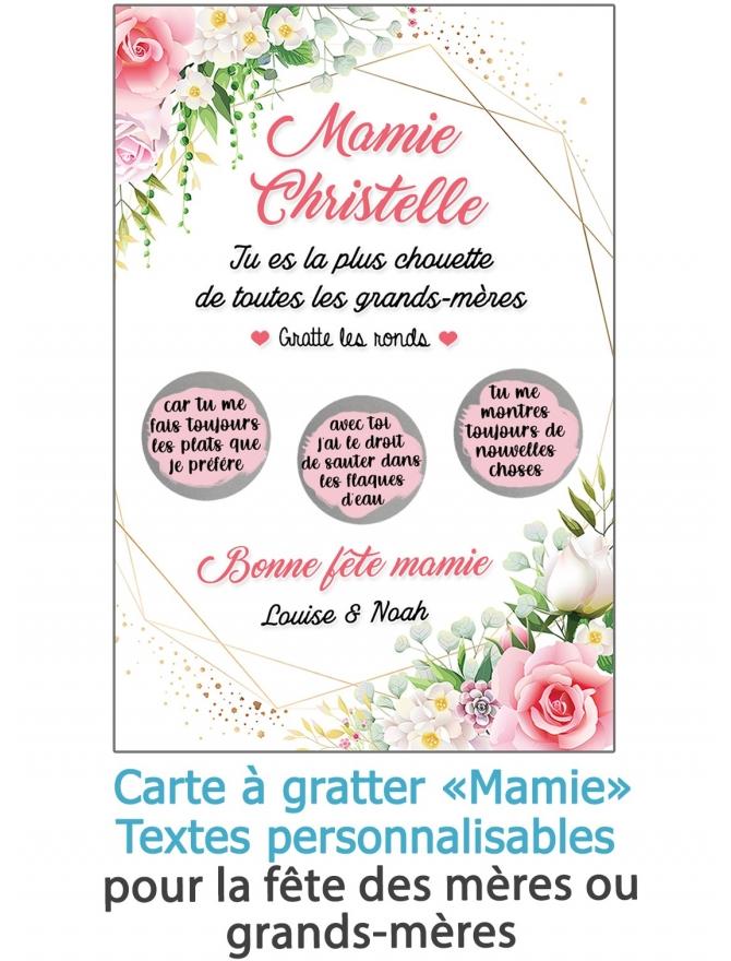 """Carte à gratter """"Mamie"""" pour la fête des mères ou grands-mères - personnalisable"""