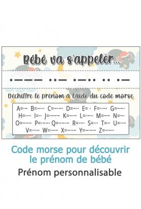 Carte pour découvrir le prénom de bébé - code morse