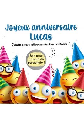 """Carte à gratter """"Joyeux anniversaire"""" - smiley"""