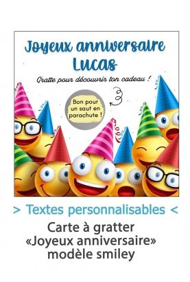 """Carte à gratter """"Joyeux anniversaire"""" - smiley - personnalisable"""