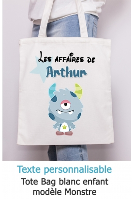 Tote bag enfant monstre à personnaliser