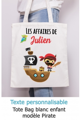 Tote bag enfant pirate à personnaliser. sac enfant. tote bag. sac affaire enfant