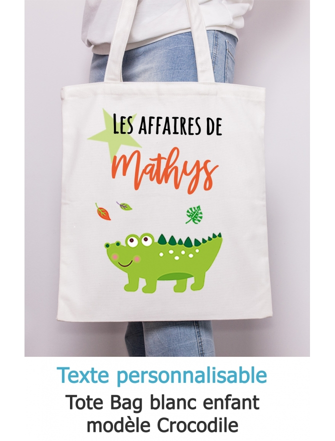 Tote bag enfant crocodile à personnaliser