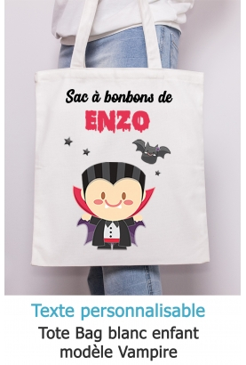 Tote bag enfant pour Halloween modèle vampire - à personnaliser.  tote bag Halloween . sac bonbon Halloween