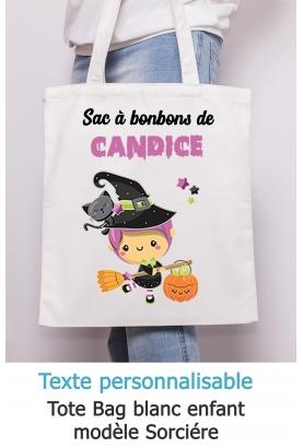 Tote bag enfant pour Halloween modèle sorcière - à personnaliser.  tote bag Halloween . sac bonbon Halloween