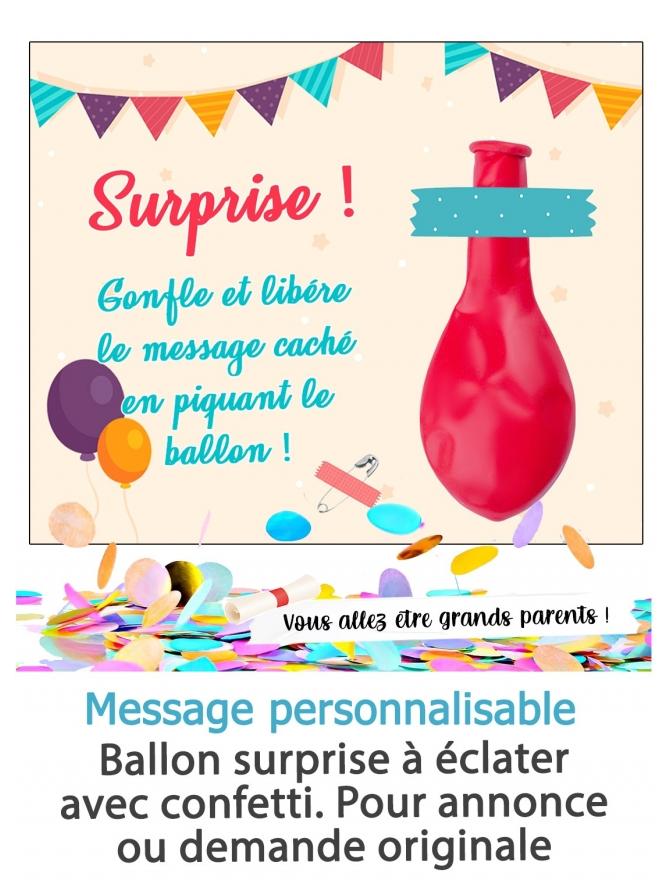 Ballon surprise à éclater avec confetti. Pour annonce ou demande originale