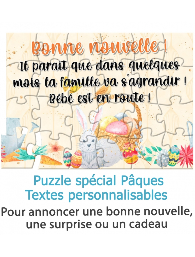 Puzzle spécial Pâques pour annoncer une bonne nouvelle