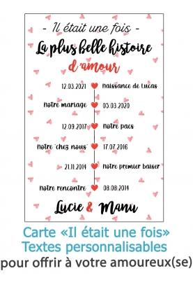 """Carte """"Il était une fois"""" pour les amoureux - à personnaliser. carte amoureux mariage. cadeau de pacs. cadeau mariage"""