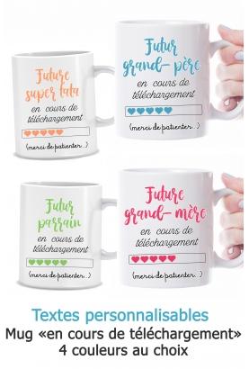 """Mug """"en cours de téléchargement"""". annonce grossesse. mug marraine. mug parrain"""