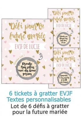 Lot de 6 cartes à gratter EVJF défis  pour la future mariée