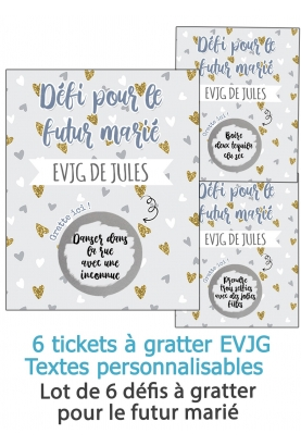 Lot de 6 cartes à gratter EVJG pour le futur marié