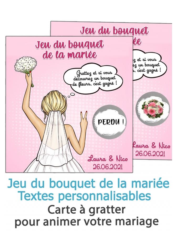 Jeu du bouquet de la mariée - Carte à gratter personnalisable