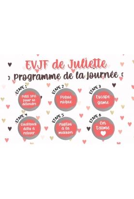 EVJF original, carte programme journée