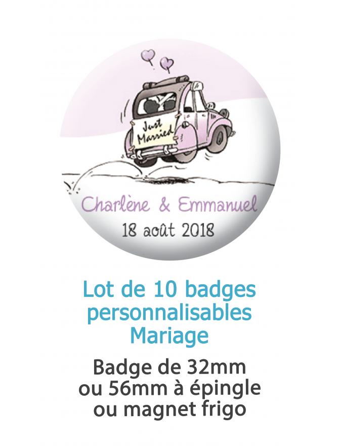 10 badges personnalisés mariage voiture