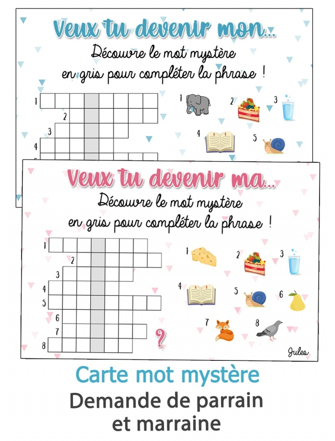 Carte mot mystère pour demande de parrain et marraine originale. jeu pour annoncer prénom bébé