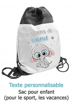 sac sport elephant. sac sport enfant. sac gym elephant. sac ecole primaire. sac ecole enfant. sac enfant personnalisé.