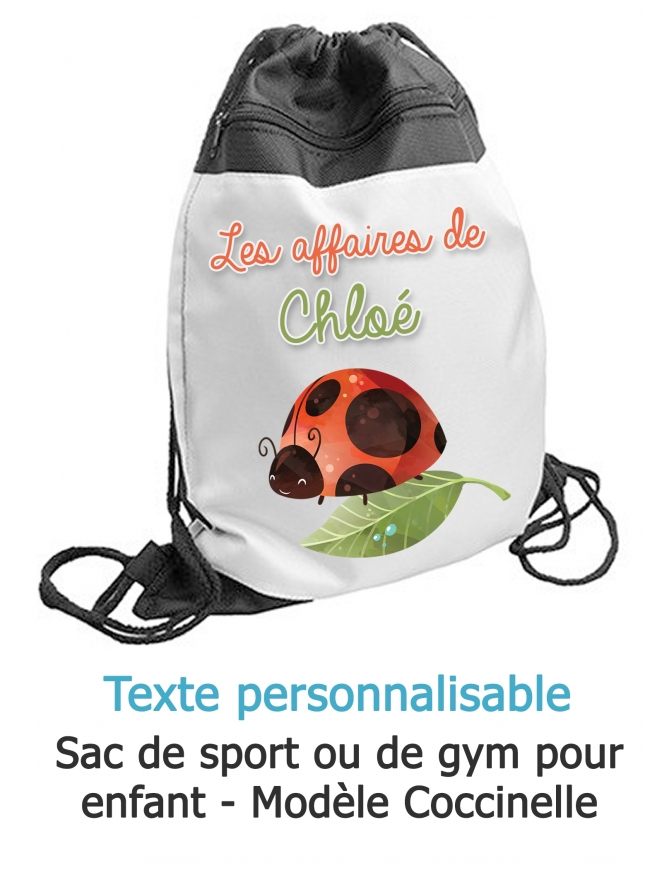 sac sport Coccinelle. sac sport enfant. sac gym. sac ecole primaire. sac ecole enfant. sac enfant personnalisé. sac piscine