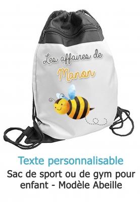 sac sport abeille. sac sport enfant. sac gym abeille. sac ecole primaire. sac ecole enfant. sac enfant personnalisé. sac piscine