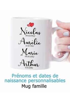 Mug famille avec prénom et date de naissance. mug cadeau famille. mug parent enfant