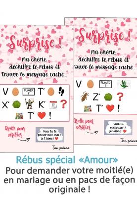 """Rébus """"amour"""" à déchiffrer pour demande en mariage ou en pacs"""