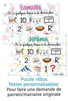 puzzle rébus demande de parrain et demande de marraine. rébus parrain. rébus marraine