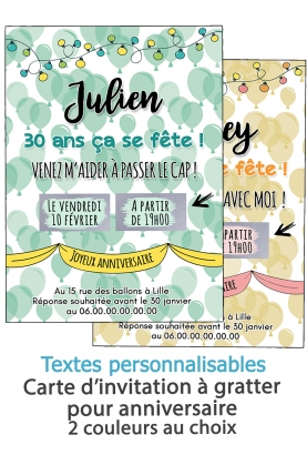 Carte d'invitation anniversaire à gratter adulte - ballon. carte anniversaire. carte invitation
