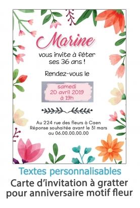 Carte d'invitation anniversaire à gratter. carte invitation fleur. carte anniversaire femme. invitation mariage