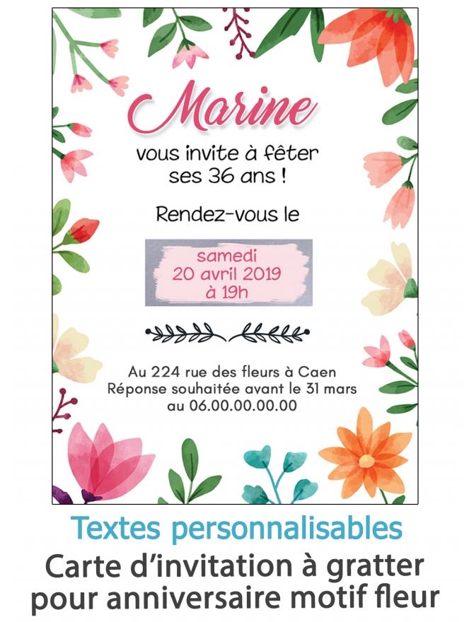 Carte d'invitation anniversaire à gratter. carte invitation fleur. carte anniversaire femme