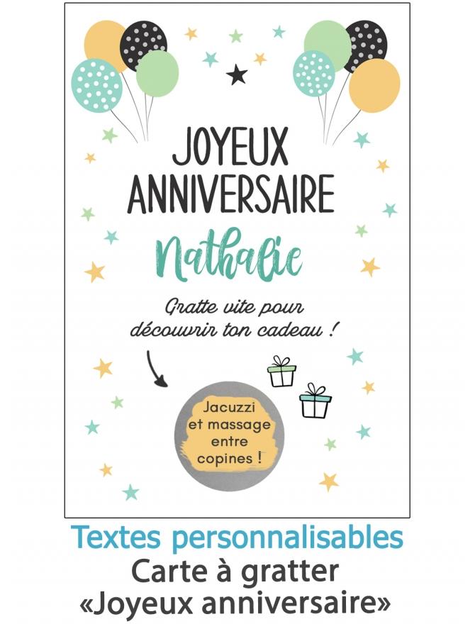 """Carte à gratter """"Joyeux anniversaire"""". carte anniversaire"""