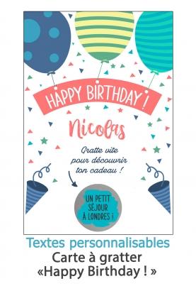 """Carte à gratter """"Joyeux anniversaire"""" pour annonce ou demande originale. carte anniversaire"""