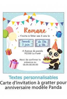 Carte d'invitation anniversaire à gratter - panda. carte anniversaire. invitation enfant original